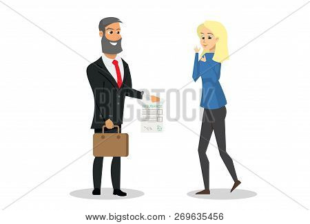Vector Illustration Cartoon Property Insurance. Smiling Insurance Agent Provides Client With A Satis