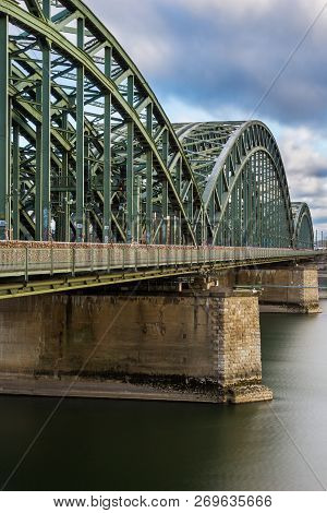 View Of A Old Historical Hohenzollern Bridge And The River Rhine In Cologne Germany 2018.