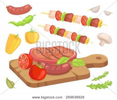 Beefsteak Roasted Meat Isolated Set Of Icons Vector. Wooden Cooking Board With Well Done Beef With S