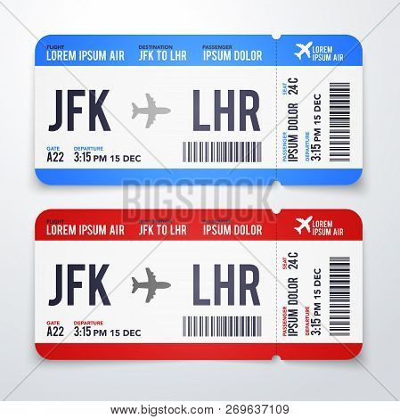 Vector Illustration Modern, Realistic Airline Ticket Design With Flight Time, Destination And Passen