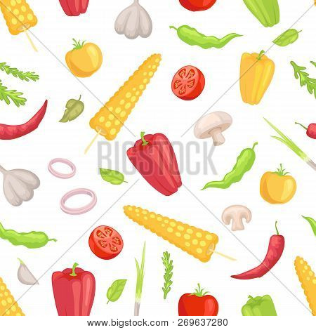Vegetables Veggies Seamless Pattern. Garlic Corn And Sweet Spicy Pepper Paprika Mushroom Tomato Slic