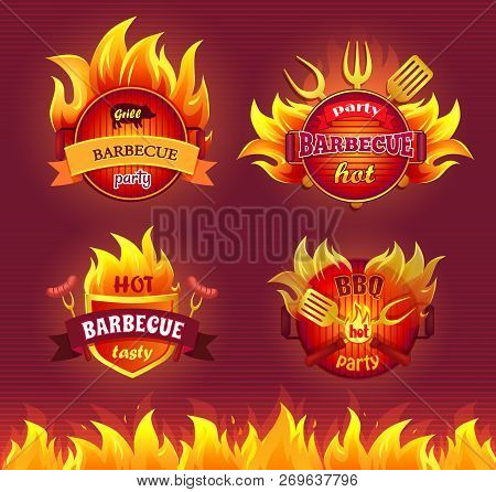 Grill Barbecue Party Hot Isolated Icons Set Vector. Flames And Frying Pan, Dinnerware And Cutlery Fo