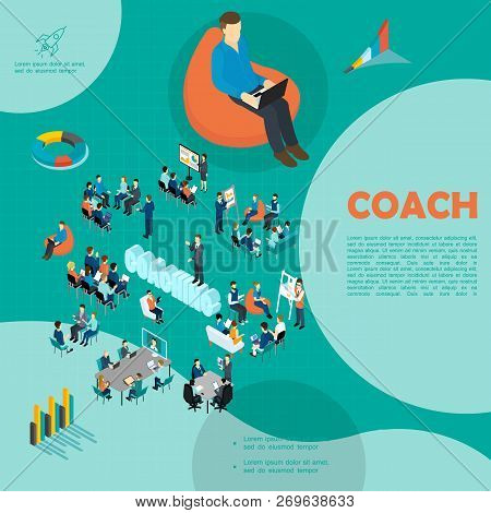 Isometric Personnel Business Coaching Template With Self Education Staff Training Seminar Brainstorm