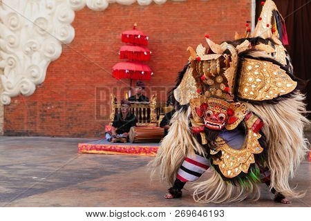 Bali, Indonesia - October 10, 2018: Men Dancing Traditional Keris (kris) Dance In Mask And Costume O