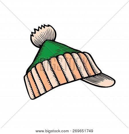 Winter Knitted Cap With Pompon, Sketch Style Vector Illustrations Isolated On White Background. Hand