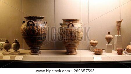 Fira, Greece - September 12, 2016 : Museum Of Prehistoric Thera In Fira, Santorini.