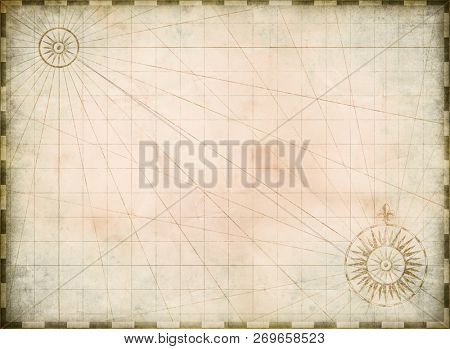 Vintage burnt blank treasure map background