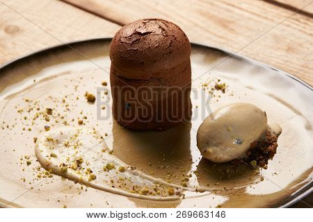 Exclusive Restaurant Dessert Food Served On A Table. Fondant Cak
