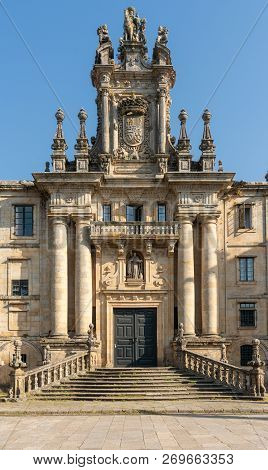 Beautiful Old Mosteiro De San Martino Pinario, Santiago De Compostela, Spain