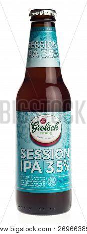 Groningen, Netherlands - November 17, 2018: Bottle Of Dutch Grolsch Session Ipa Beer Isolated On A W