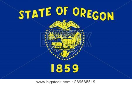 Flat Oregon State Flag - Usa In The Colors Blue And Yellow