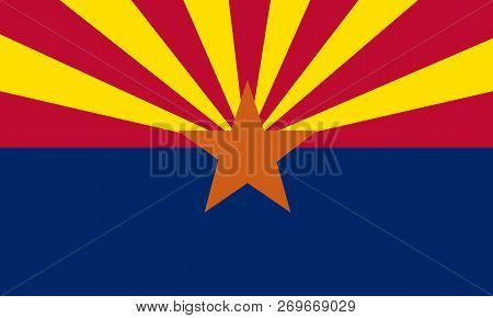 Flat Arizona State Flag - Usa The Colors Blue, Yellow And Red