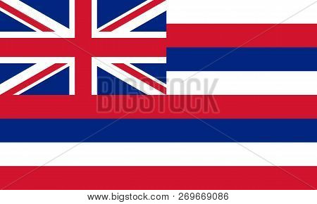 Flat Hawaii State Flag - Usa In The Colors Blue, White And Red