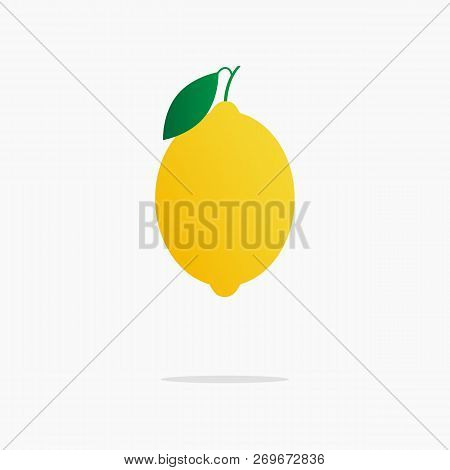 Yellow Juicy Lemon With A Slice Of Lemon On The Isolated White Background.vector Illustration Of Rip
