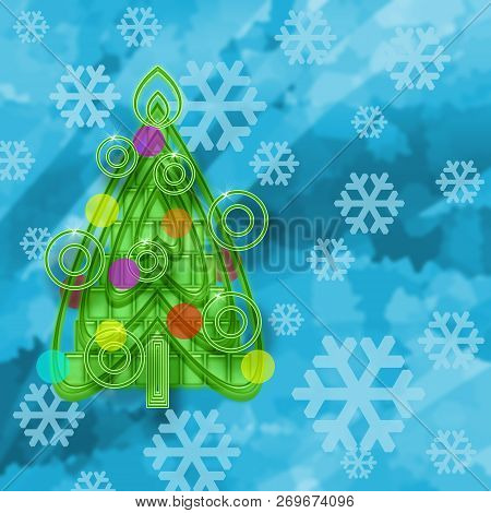 Christmas Tree Bright Frozen Ice Background With Snowflakes