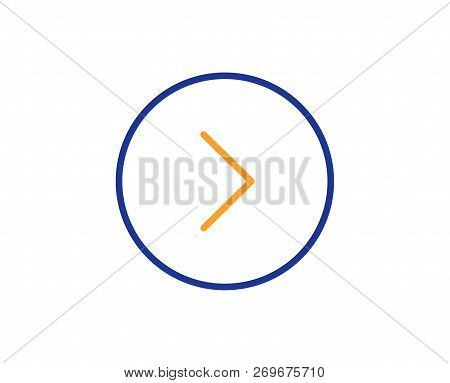 Forward arrow line icon. Next Arrowhead symbol. Next navigation pointer sign. Colorful outline concept. Blue and orange thin line color icon. Forward Vector poster