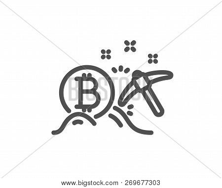 Bitcoin Mining Line Icon. Cryptocurrency Coin Sign. Crypto Money Pickaxe Symbol. Quality Design Flat
