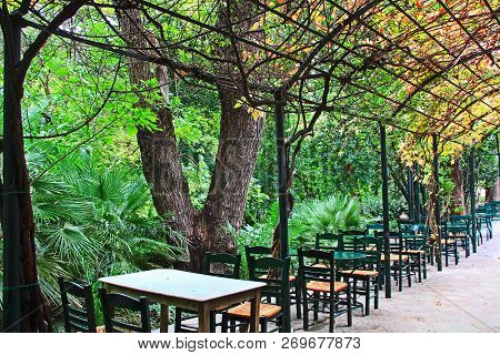 Tables And Chairs Down The Side Of An Arbour Covered Sidewalk In A Cafe In The National Garden In At
