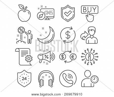 Set Of 24 Hours, Discount And Headphones Icons. Technical Documentation, Usd Exchange And Sale Megap