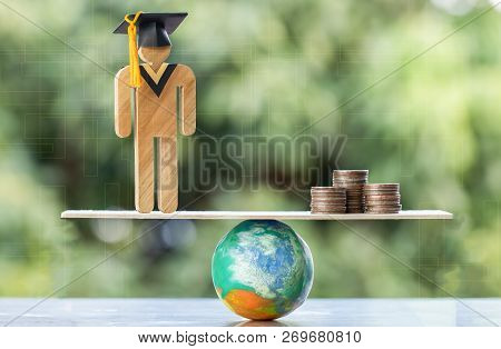 University Education Learning Abroad International Idea. Student Graduation Save Coins Placed On Moc