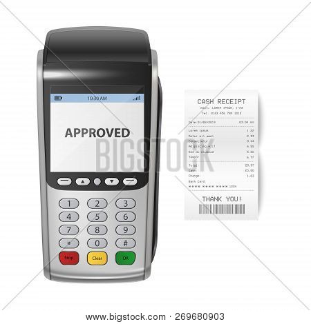 Vector Realistic Silver 3d Payment Machine. Pos Terminal With Receipt Closeup Isolated On White Back