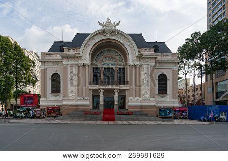 Ho Chi Minh City, Vietnam - August 24, 2017: Saigon Opera House Facade. Historical And Cultural Land