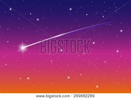 Shooting Star Background Against Dark Blue Starry Night Sky, Vector Illustration. Space Background.