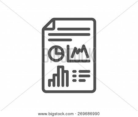 Report Document Line Icon. Column Graph Sign. Growth Diagram, Pie Chart Symbol. Quality Design Flat