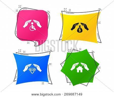 Hands Insurance Icons. Money Bag Savings Insurance Symbols. Disabled Human Help Symbol. House Proper
