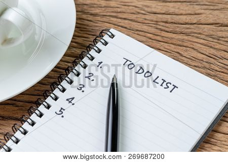 To Do List Concept, Pen On White Paper Note Pad With Handwritten Headline As To Do List And Numbers
