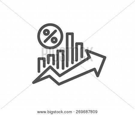 Loan Percent Growth Chart Line Icon. Discount Sign. Credit Percentage Symbol. Quality Design Flat Ap
