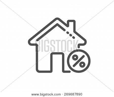 Loan House Percent Line Icon. Discount Sign. Credit Percentage Symbol. Quality Design Flat App Eleme