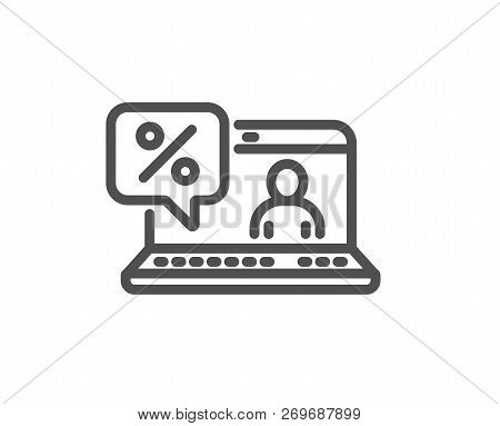 Online Loan Percent Line Icon. Discount Sign. Credit Percentage Symbol. Quality Design Flat App Elem