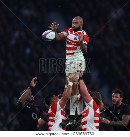 LONDON, ENGLAND - NOVEMBER 17 2018. During the Quilter Autumn International's series Rugby Union match between England and Japan at Twickenham Stadium, London, United Kingdom.
