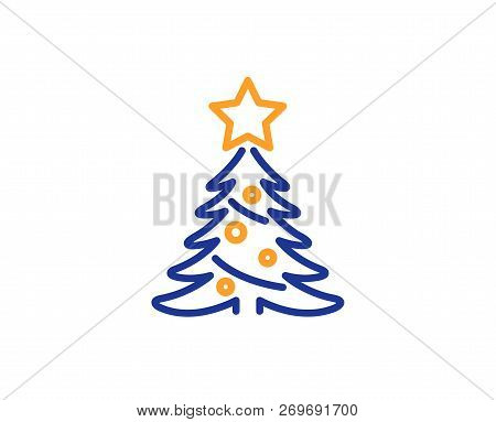 Christmas Tree Present Line Icon. New Year Spruce Sign. Fir-tree Symbol. Colorful Outline Concept. B
