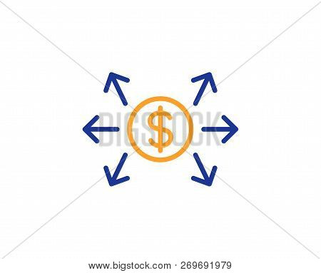 Dollar Exchange Line Icon. Payment Sign. Finance Symbol. Colorful Outline Concept. Blue And Orange T