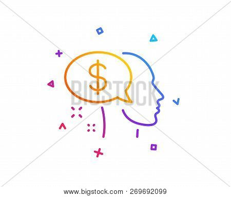 Pay Line Icon. Think About Money Sign. Beggar Symbol. Gradient Line Button. Pay Icon Design. Colorfu