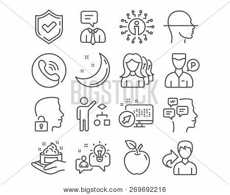 Set of Skin care, Unlock system and Idea icons. Valet servant, Women headhunting and Algorithm signs. Messages, Face scanning and Support service symbols. Hand skin cream, Access granted. Vector poster