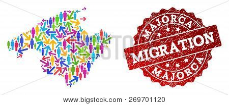 People Migration Traffic Composition Of Mosaic Map Of Majorca And Rubber Seal Stamp. Mosaic Map Of M