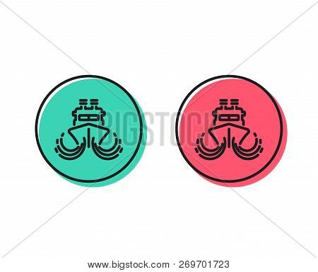 Ship In Waves Line Icon. Watercraft Transport Sign. Shipping Symbol. Positive And Negative Circle Bu