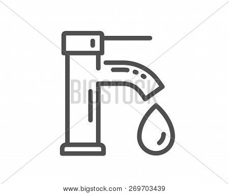 Tap Water Line Icon. Faucet With Aqua Drop Sign. Sanitary Engineering Symbol. Quality Design Flat Ap