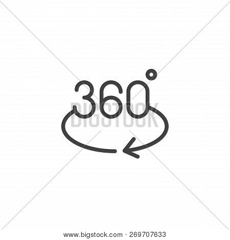 360 Degrees Rotation Arrow Outline Icon. Linear Style Sign For Mobile Concept And Web Design. Angle