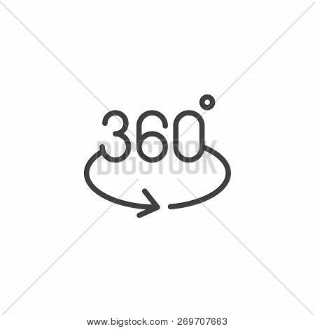 Angle 360 Degrees Outline Icon. Linear Style Sign For Mobile Concept And Web Design. 360 Degrees Rot
