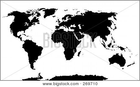 World Map ( Black And White)