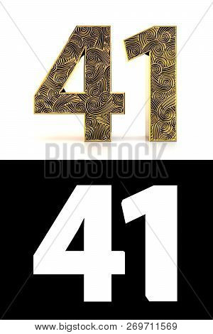 Golden Number Forty-one (41 Years) On White Background With Pattern Style Zentangle, Drop Shadow And