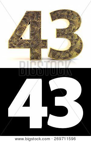 Golden Number Forty-three (43 Years) On White Background With Pattern Style Zentangle, Drop Shadow A
