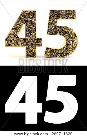Golden Number Forty-five (45 Years) On White Background With Pattern Style Zentangle, Drop Shadow An