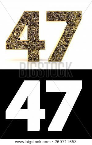 Golden Number Forty-seven (47 Years) On White Background With Pattern Style Zentangle, Drop Shadow A