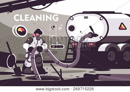 Sewer Cleaning Service Flat Poster. Professional Plumber