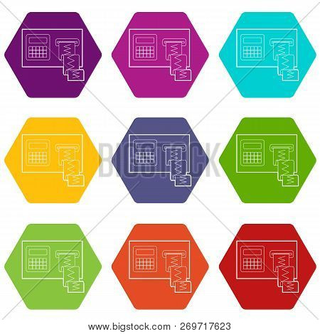 Cardiograph Icons 9 Set Coloful Isolated On White For Web
